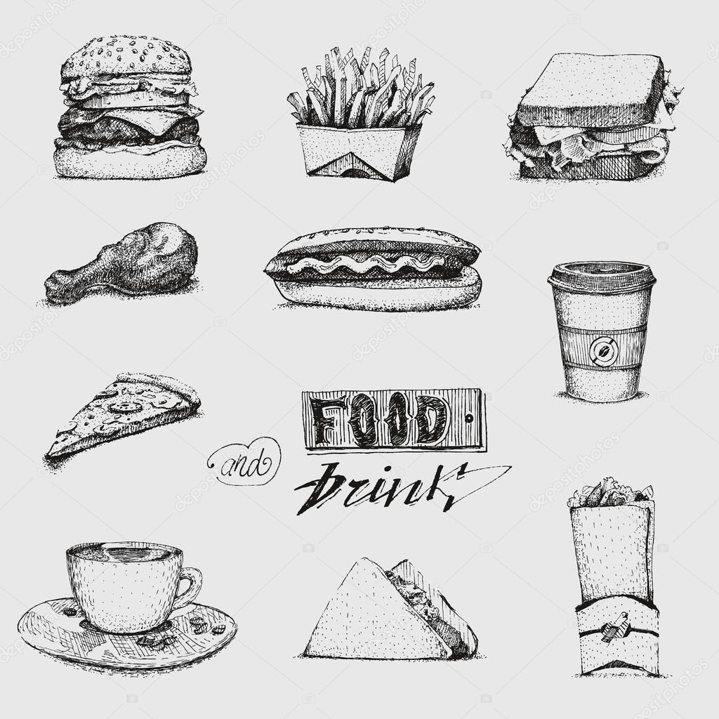Set With Fast Food Illustration Sketch Vector Restaurant
