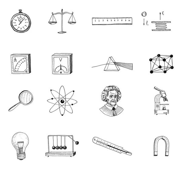 atom and prism, light bulb and compass. engraved hand