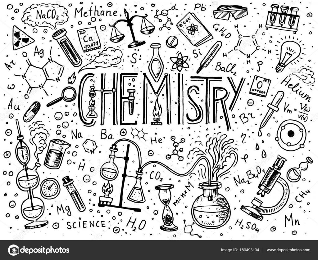 Chemistry Of Icons Set Chalkboard With Elements Formulas Atom Test Tube And Laboratory