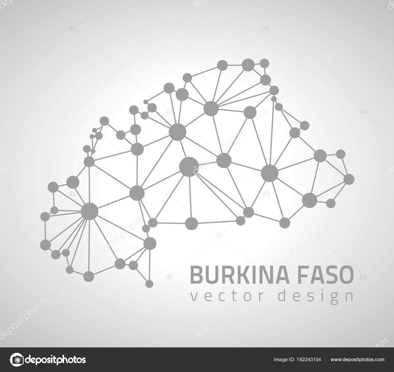 hight resolution of burkina faso grey vector dot contour triangle map stock illustration
