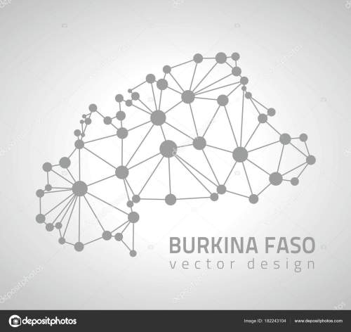 small resolution of burkina faso grey vector dot contour triangle map stock illustration