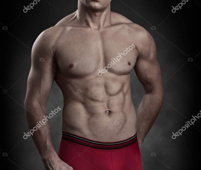 Handsome Naked Guy Weared Christmas Clothes Stock Photo