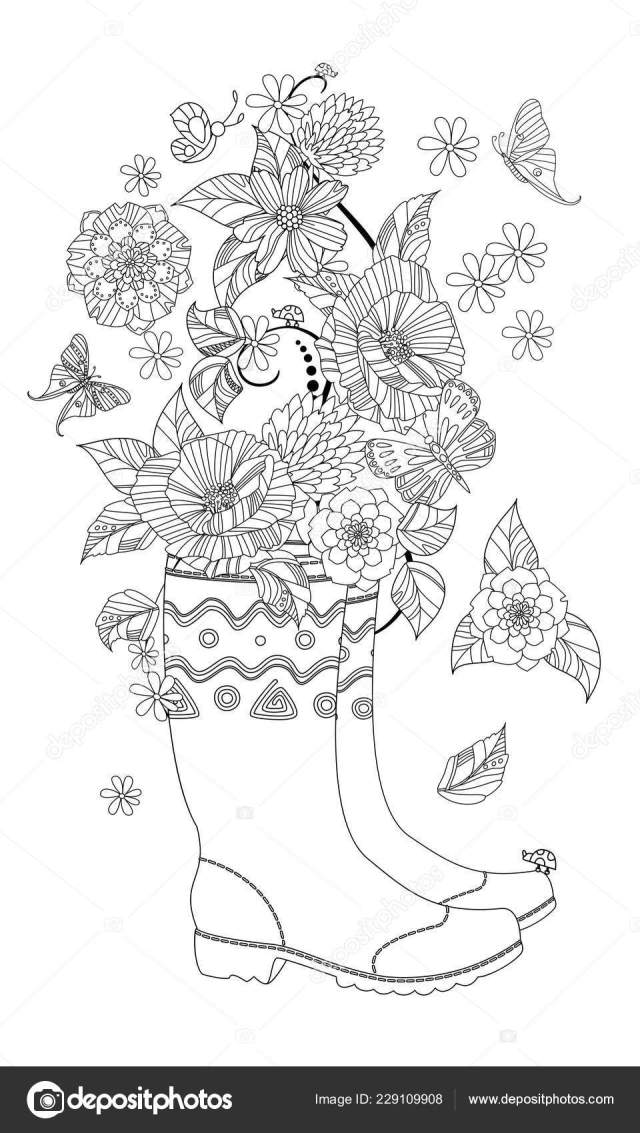 Lovely Flowers Arrangement Rubber Boots Your Coloring Page Stock