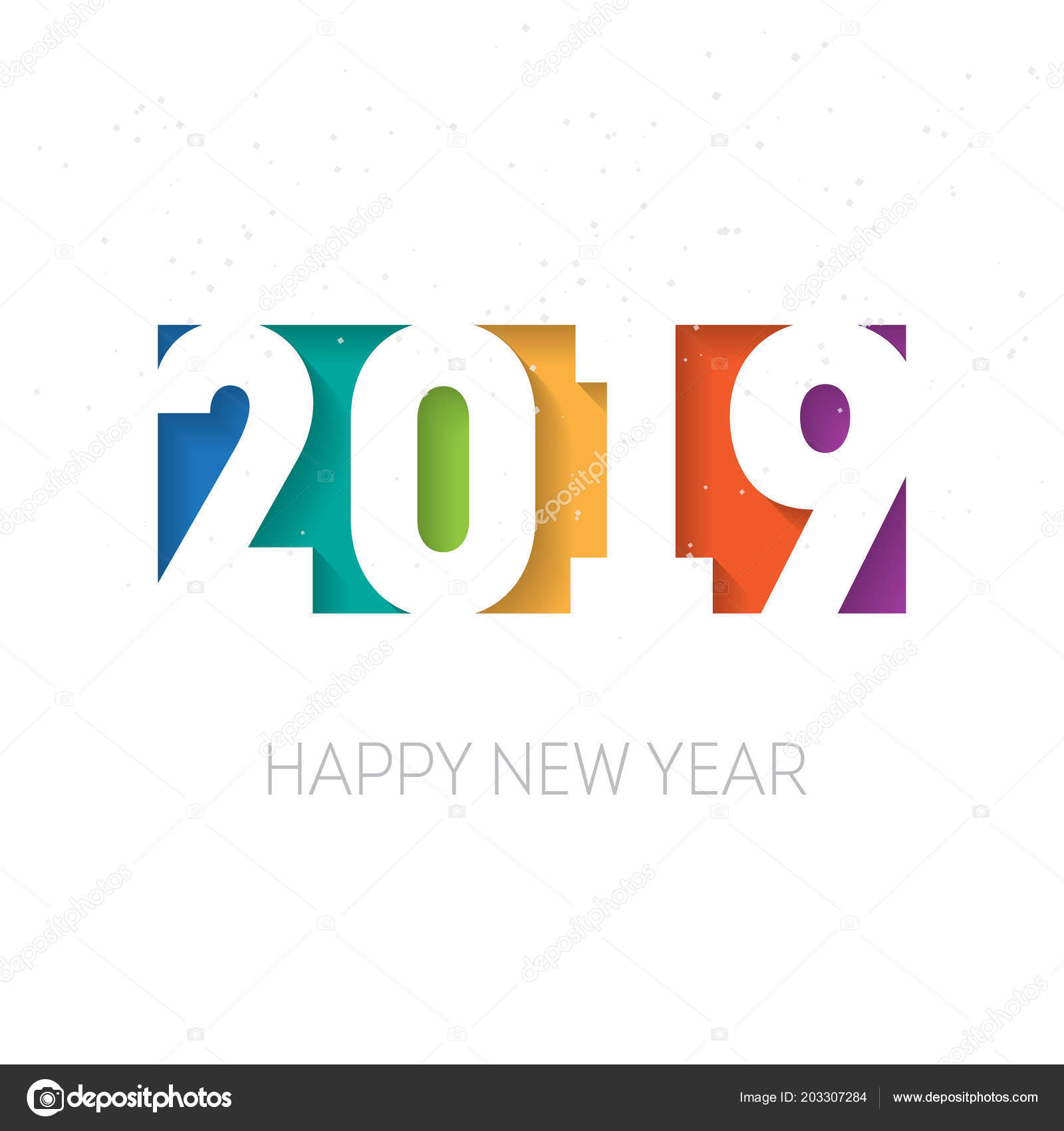 Happy New Year 2019 Greeting Card Calendar Cover Design
