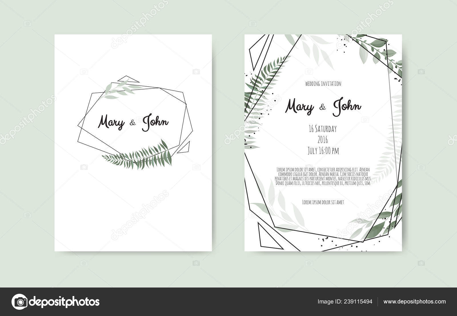 hight resolution of set of card with flower rose leaves and geometrical frame wedding ornament concept