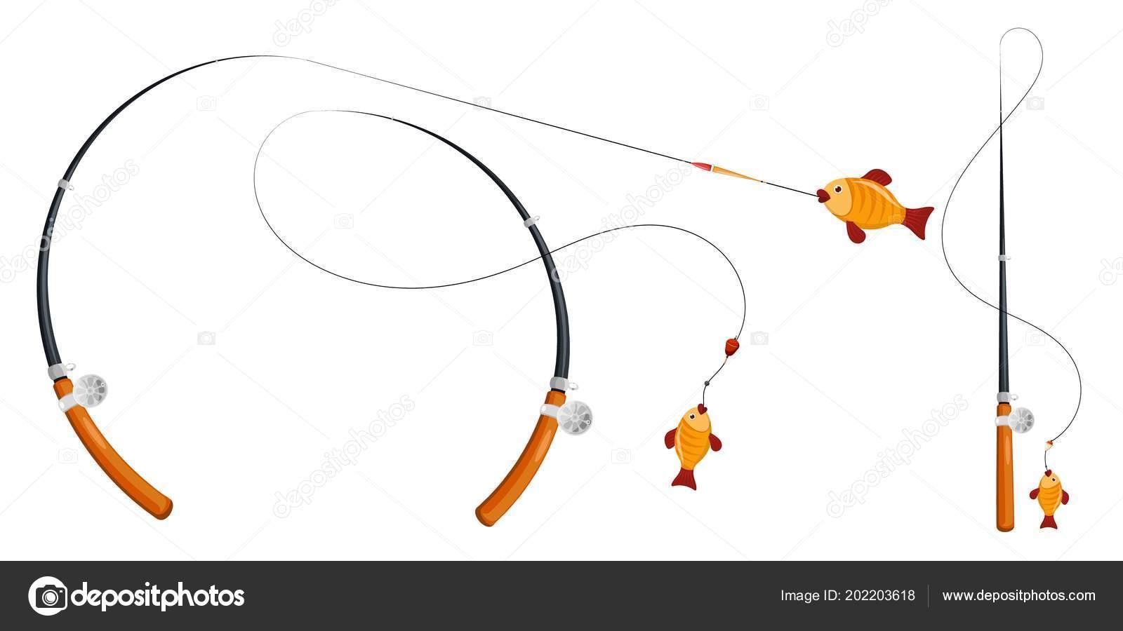 hight resolution of set fishing rod fishing line reel hook float cartoon style stock vector
