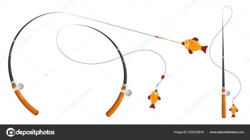 small resolution of set fishing rod fishing line reel hook float cartoon style stock vector