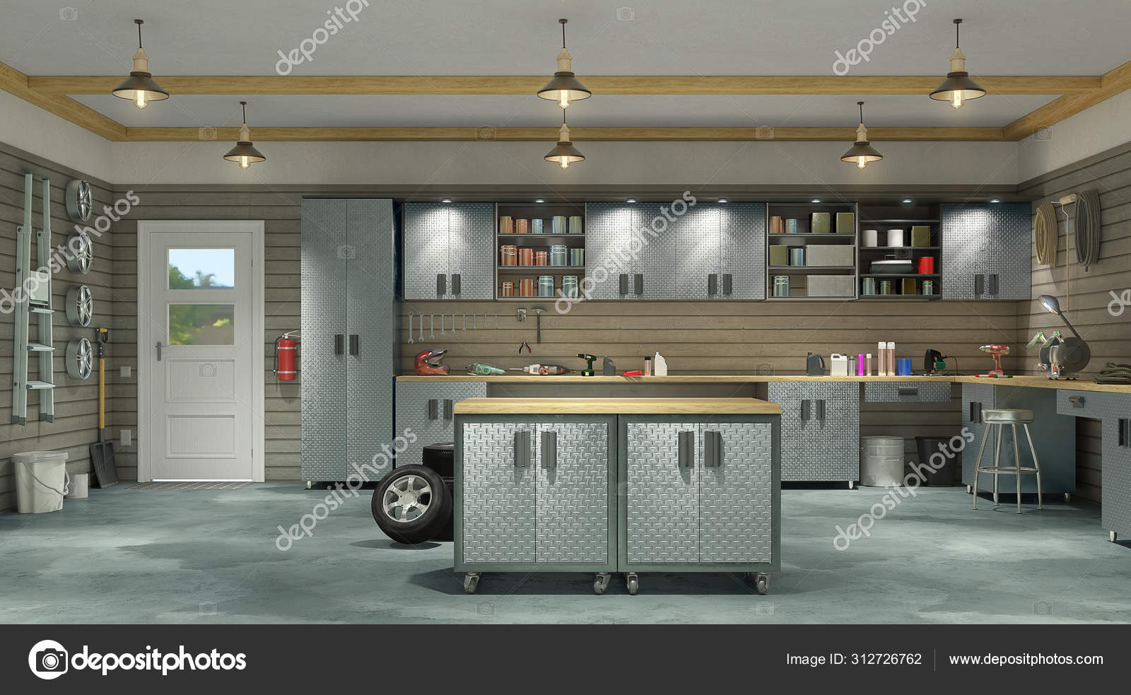 Modern Garage Interior 3d Illustration Stock Photo C Urfingus 312726762