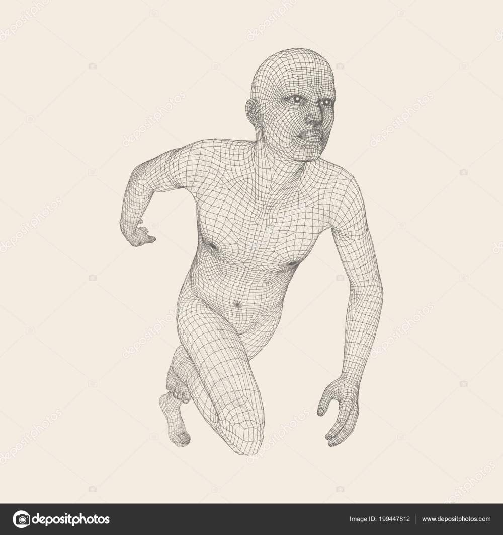 medium resolution of 3d running man human body wire model sport symbol low poly man in motion vector geometric illustration