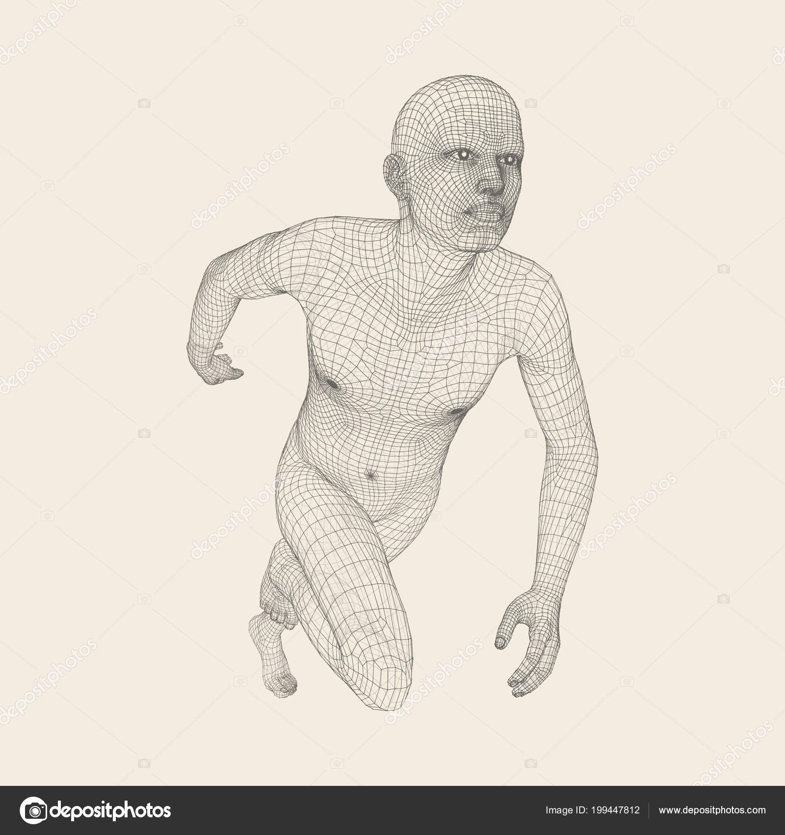 hight resolution of 3d running man human body wire model sport symbol low poly man in motion vector geometric illustration