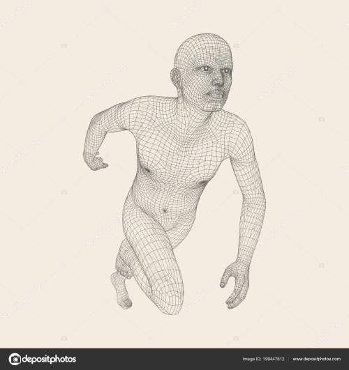 small resolution of 3d running man human body wire model sport symbol low poly man in motion vector geometric illustration