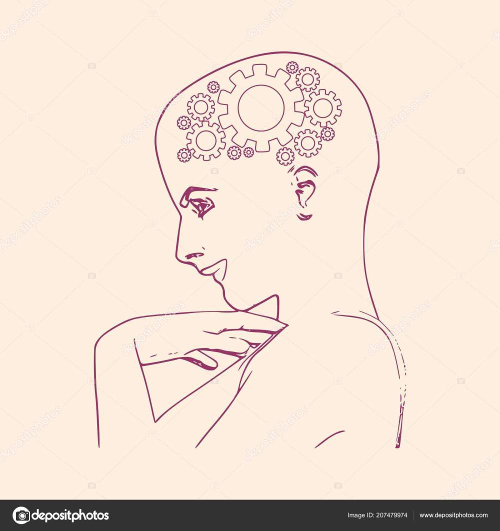 medium resolution of face side view elegant outline silhouette of a female head portrait of a happy woman raising her hand to face mental health relative design template