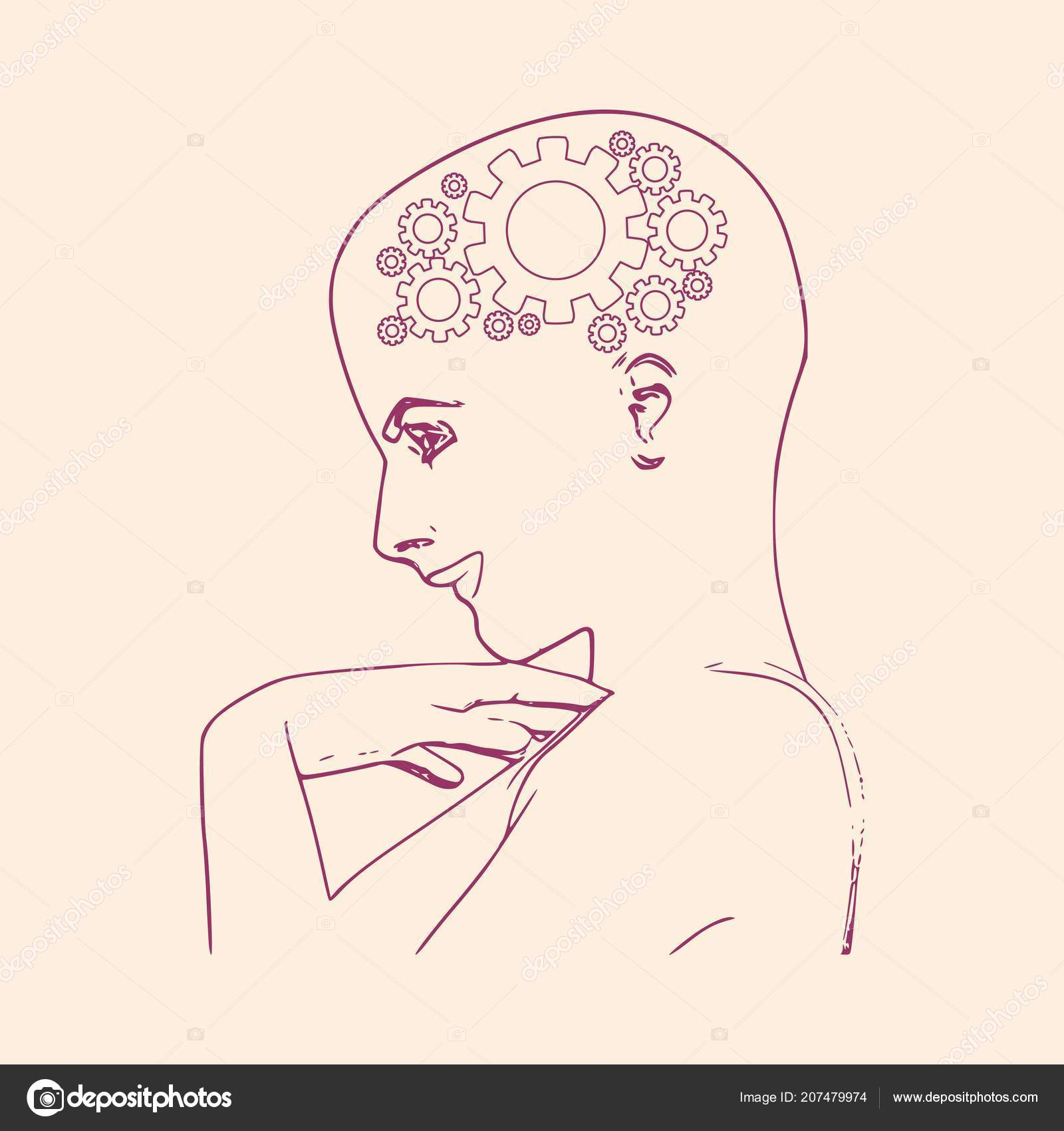 hight resolution of face side view elegant outline silhouette of a female head portrait of a happy woman raising her hand to face mental health relative design template