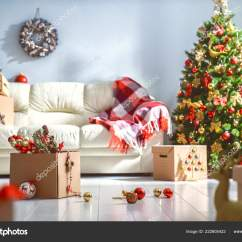 Beautiful Living Rooms At Christmas Small Apartment Room Design Pictures Merry Happy Holidays Decorated Stock Photo