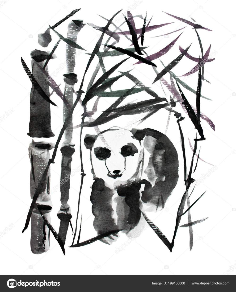 medium resolution of decorative watercolor panda bear and bamboo plants clipart design elements can be used for cards invitations banners posters print design