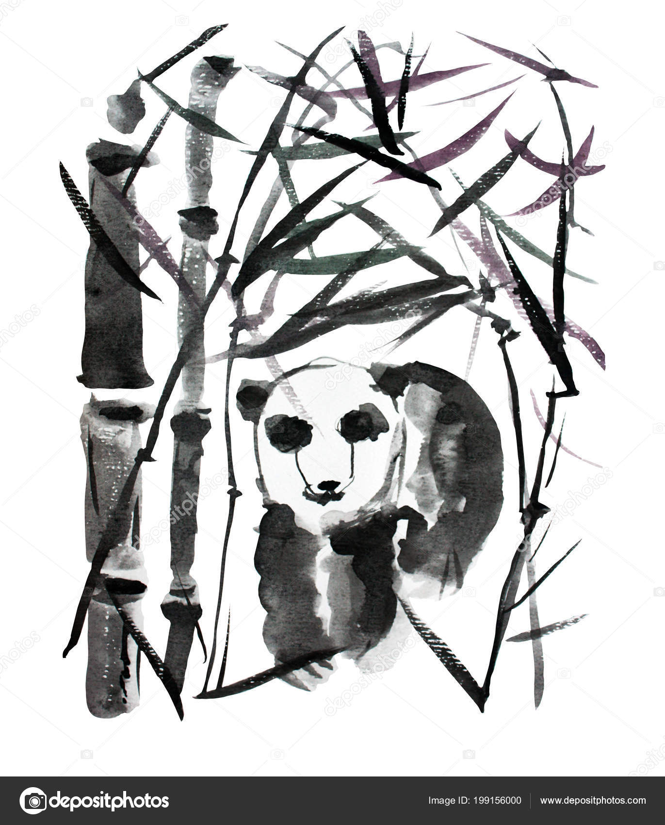 hight resolution of decorative watercolor panda bear and bamboo plants clipart design elements can be used for cards invitations banners posters print design