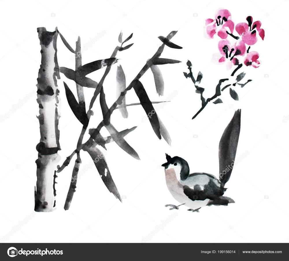 medium resolution of decorative watercolor bamboo plants bird sakura clipart design elements can stock photo