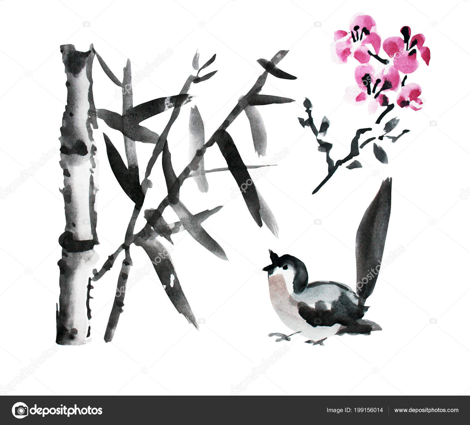 hight resolution of decorative watercolor bamboo plants bird sakura clipart design elements can stock photo