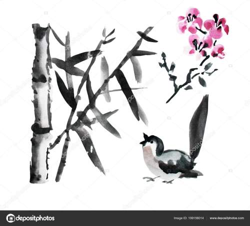 small resolution of decorative watercolor bamboo plants bird sakura clipart design elements can stock photo