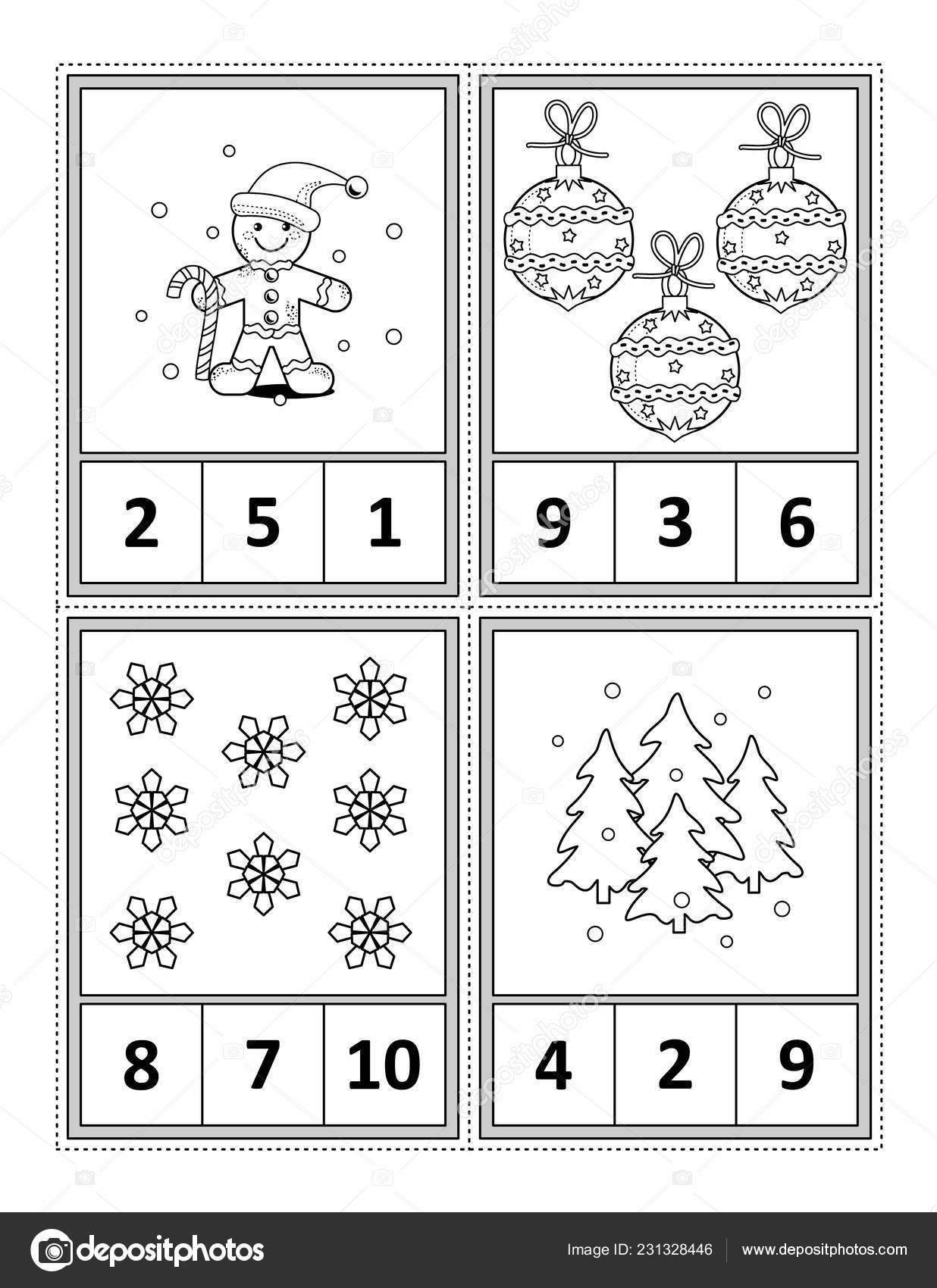 Winter Holidays Themed Counting Practise Kids Worksheet