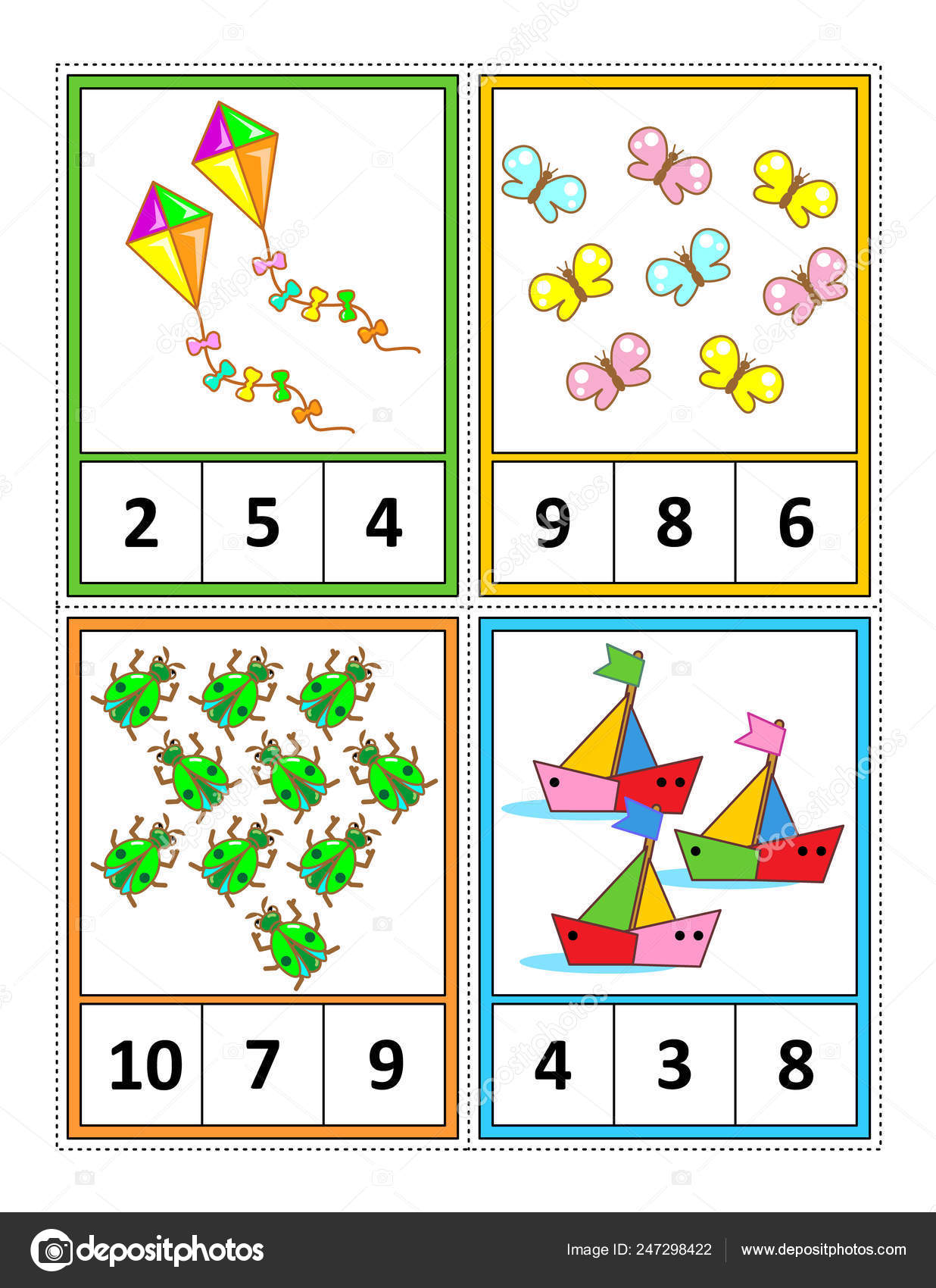 Spring Season Themed Counting Practice Kids Worksheet Four