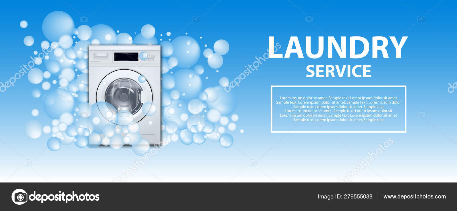 laundry service poster or banner washing machine front loading background with soap bubbles 3d realistic illustration laundry detergent advertising vector image by c nataliakarebina vector stock 279555038
