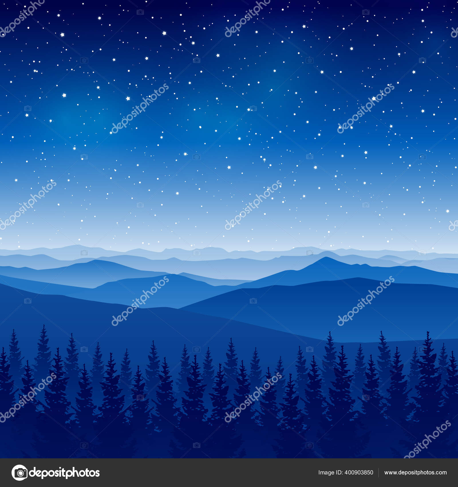 https fr depositphotos com 400903850 stock illustration mountain scene coniferous forest starry html