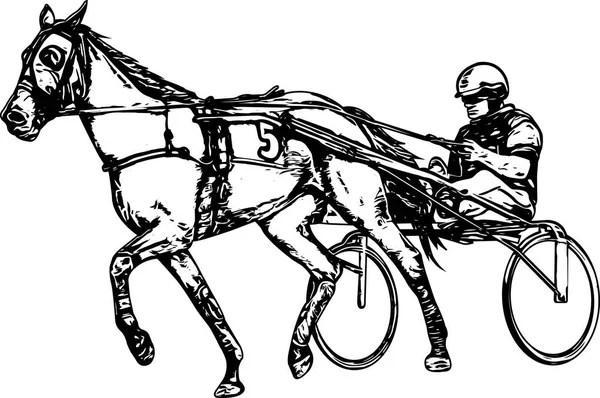 Jockey Reiten Rennen Pferd Zeichnung — Stockvektor