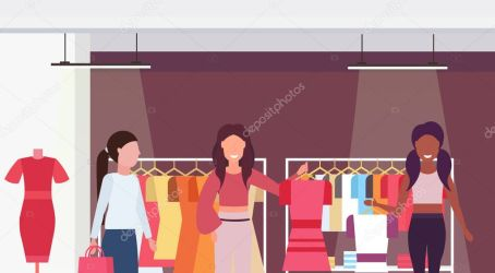 ✅ Mix race customers holding dresses fashion boutique big shop female clothes shopping mall interior cartoon characters portrait flat horizontal vector illustration premium vector in Adobe Illustrator ai ai format