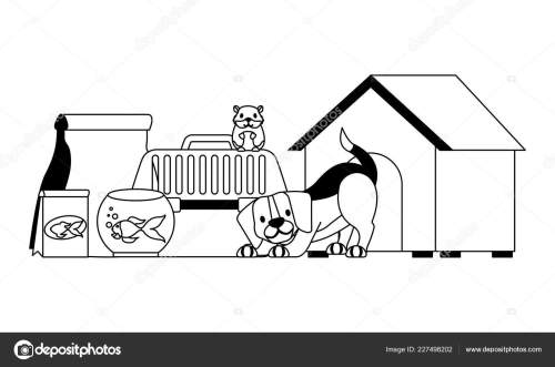 small resolution of dog hamster and cat on cage food house pet vector illustration vector illustration vector by