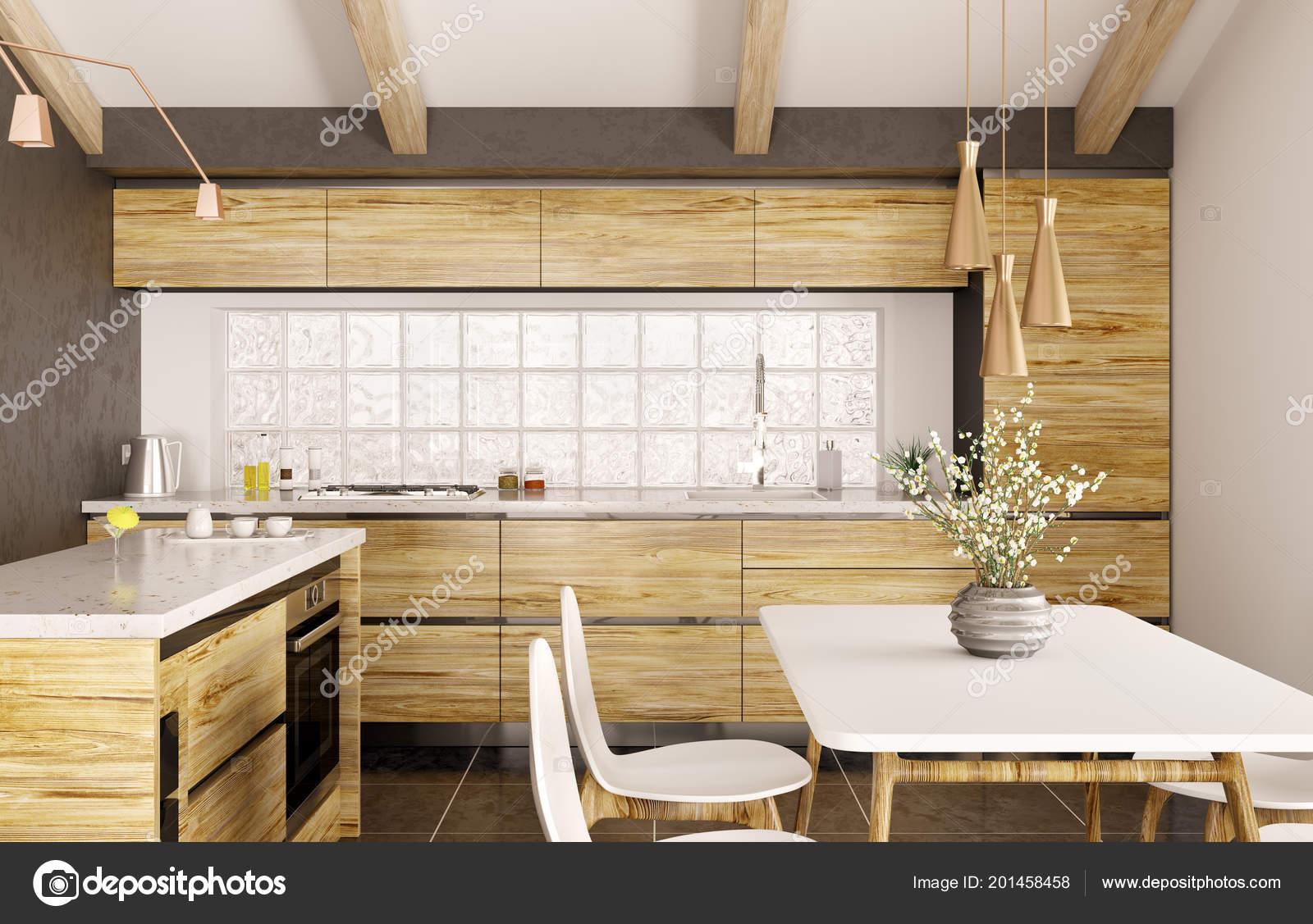 wooden kitchen table faucet manufacturers 现代室内设计的木制厨房与海岛白色大理石柜台桌子和椅子3d 图库照片