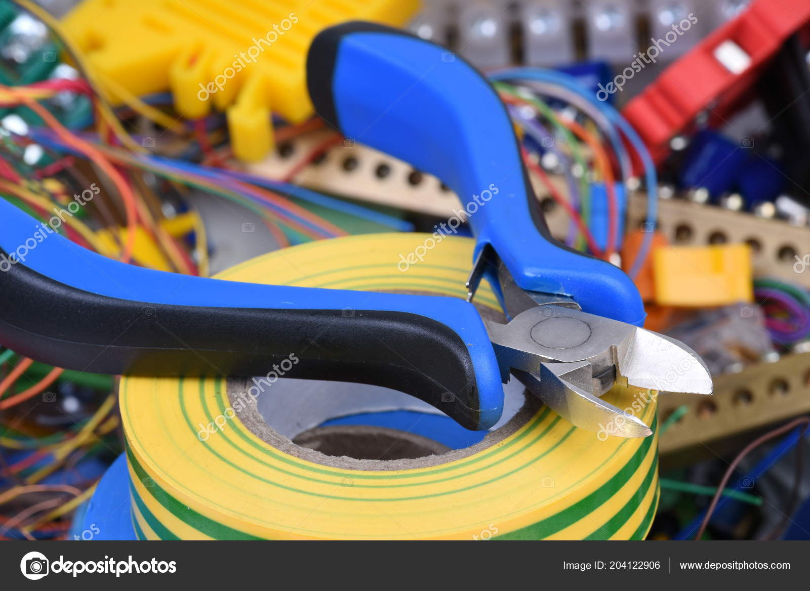 hight resolution of tools cables used electrical home installation stock photo