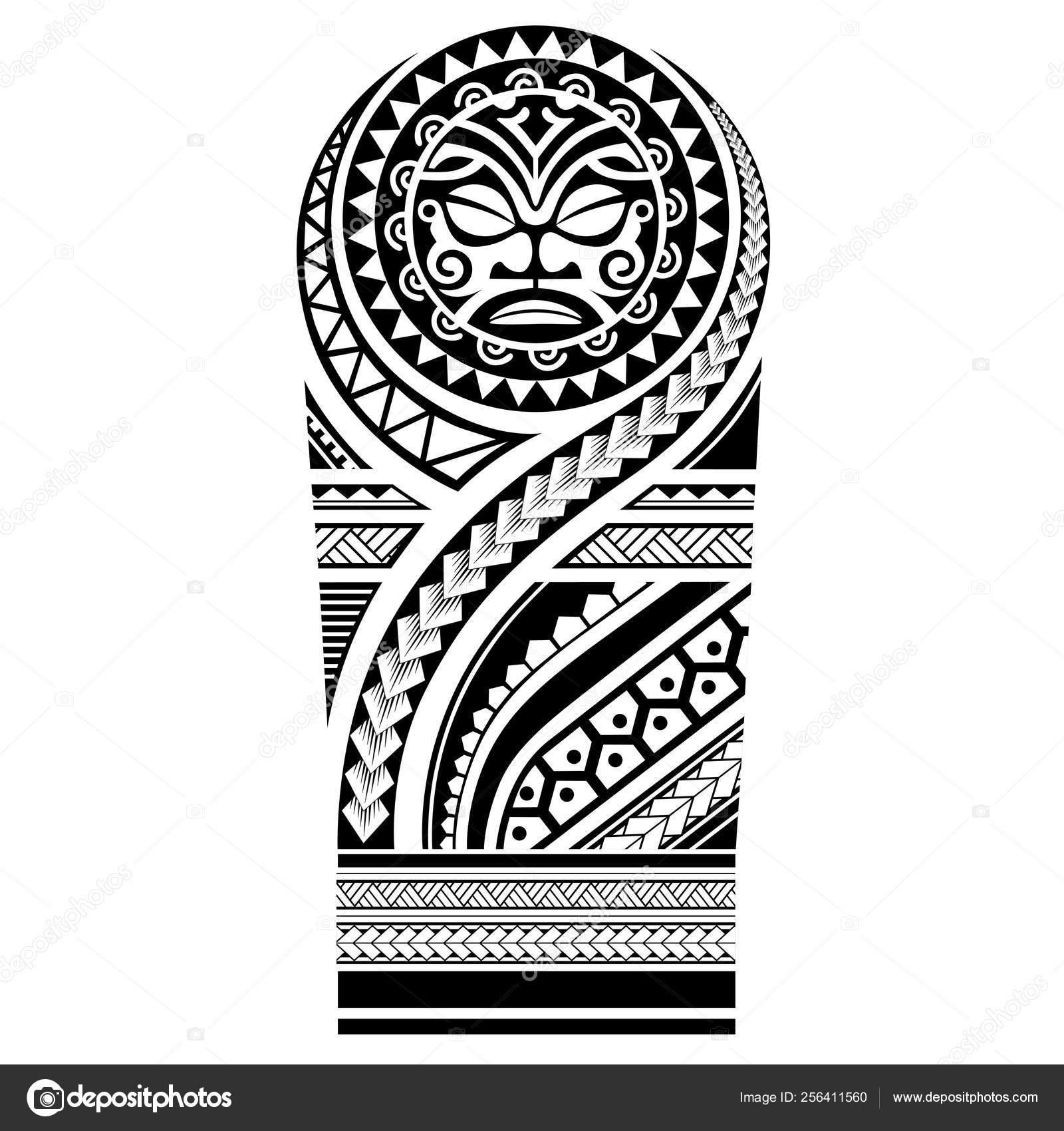 Vector Patrón Hombro Manga Tatuaje Polinesio Plantilla Samoana
