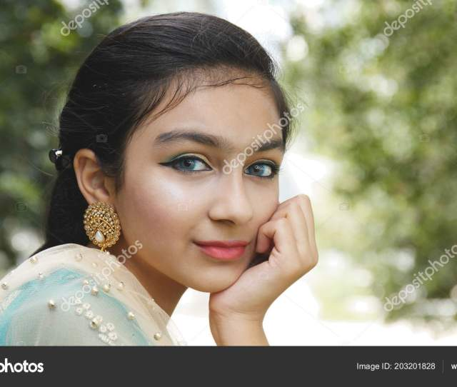 Young Pakistan Girl Smile Camera Stock Photo