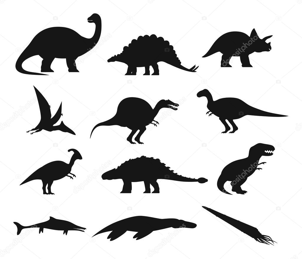 Set Of Isolated Ancient Dinosaurs Outline Contour With Prehistoric Dino Underwater Basilosaurus And Plesiosaur T Rex And Pterodactyloidea Basilosaurus And Spinosaurus Brachiosaurus Extinct Animal Premium Vector In Adobe Illustrator Ai Ai