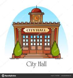 City hall Government building in thin line Stock Vector © cookamoto #276276964