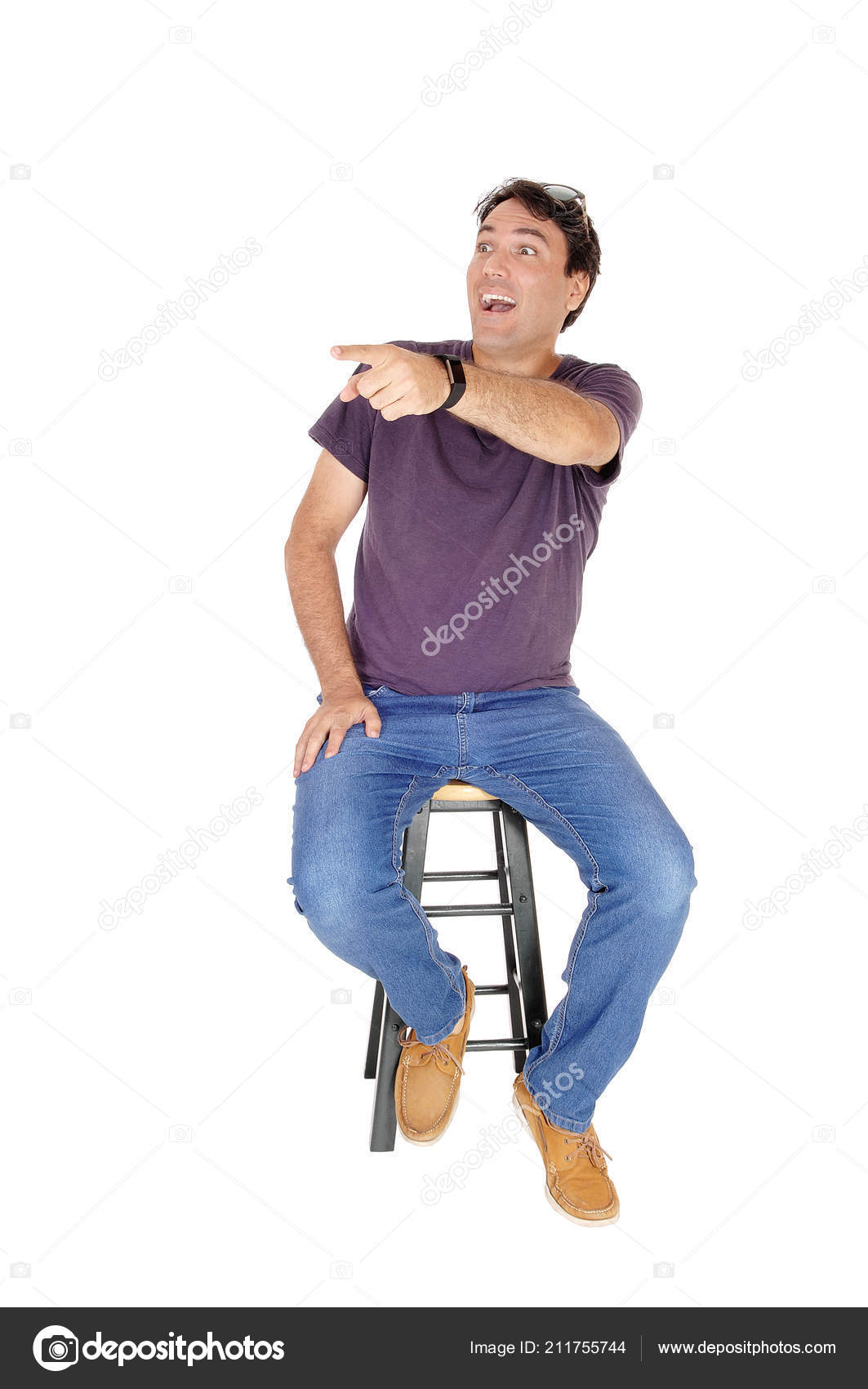 Chairs For Tall Man Happy Tall Man Sitting Chair Laughing Pointing His Finge Stock
