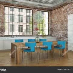 Blue Kitchen Chairs Base Units For Sale 白色现代厨房在房子与蓝色椅子和木桌 图库照片 C Virtua73 198141478 3d 白色现代厨房的例证在一个蓝色椅子和木桌的房子里 照片作者virtua73