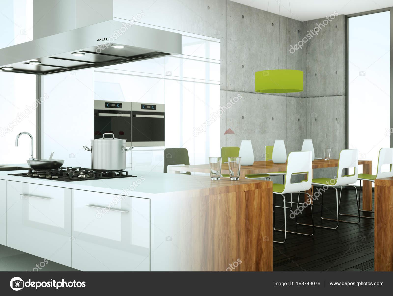 modern kitchen images granite top island 有混凝土墙的房子里的白色现代厨房 图库照片 c virtua73 198743076 3d 白色现代厨房的例证在一个房子用混凝土墙壁 照片作者virtua73