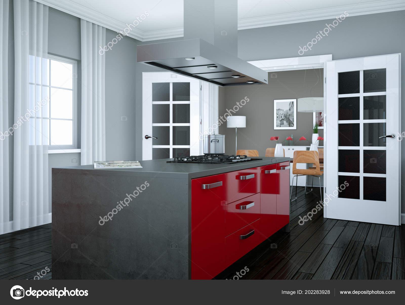 Cucina Moderna Design   Interior Design Arredamento Che Mostra La ...