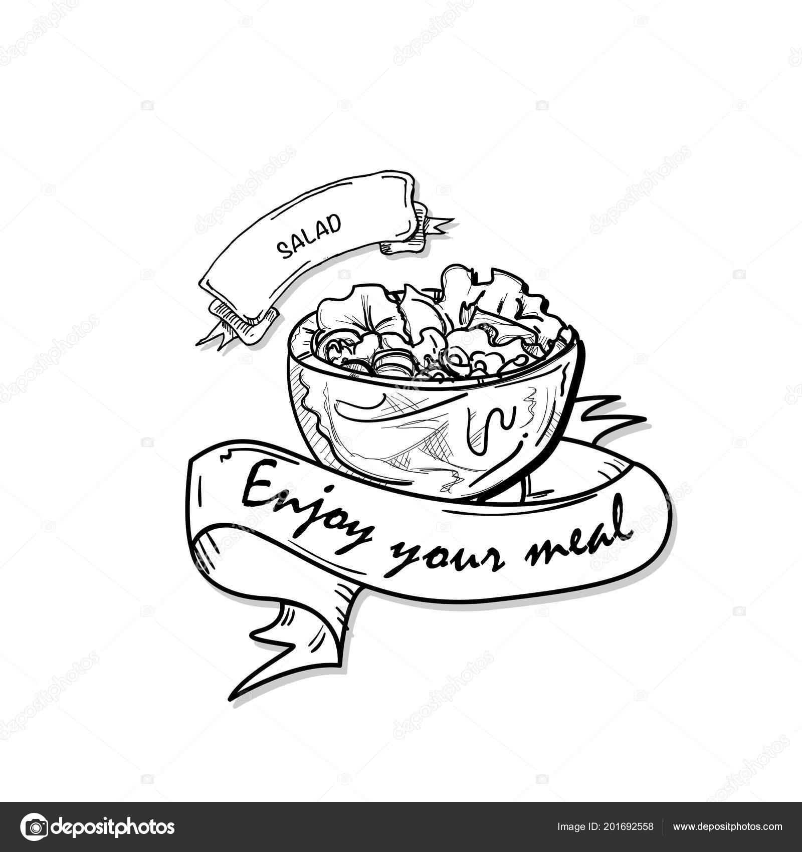 Fast Food Salat Zeichnung Objekt Schwarz Weiß
