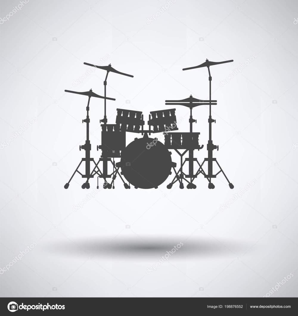 medium resolution of drum set icon gray background shadow vector illustration stock vector