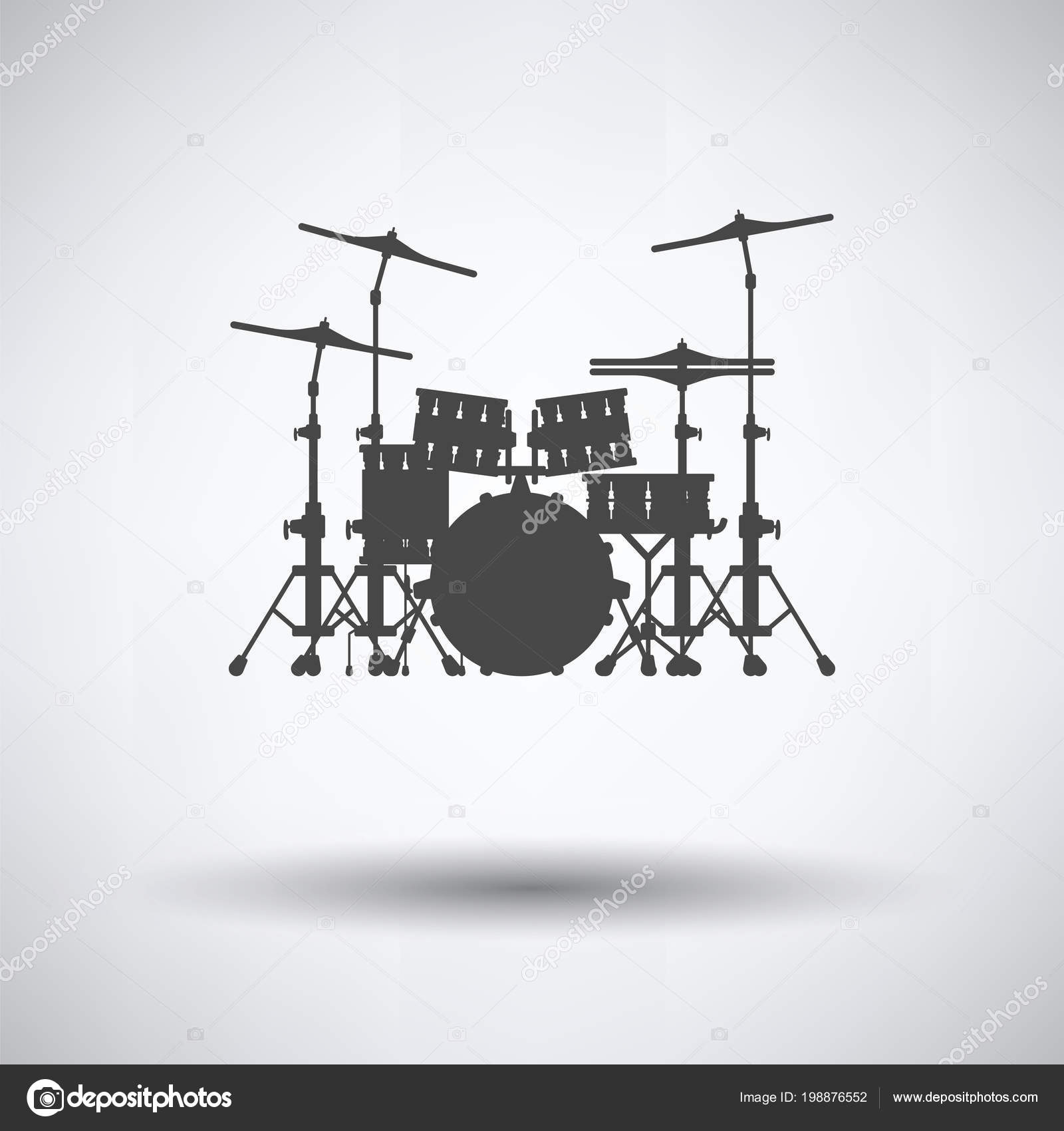 hight resolution of drum set icon gray background shadow vector illustration stock vector