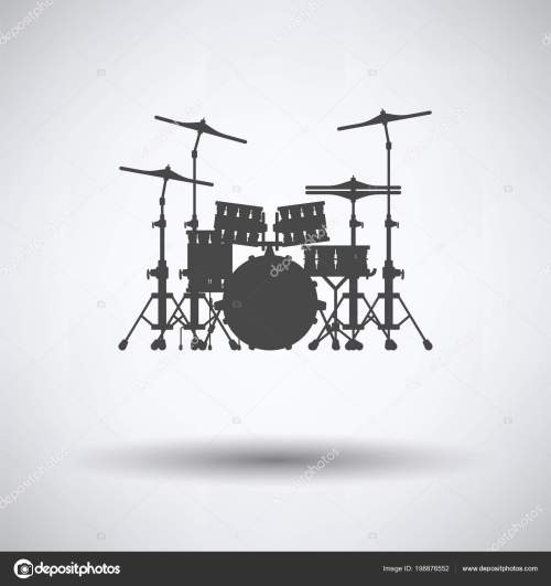 small resolution of drum set icon gray background shadow vector illustration stock vector