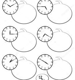black and white cartoon illustrations of telling time educational game with clock face for elementary age children stock illustration [ 1185 x 1700 Pixel ]