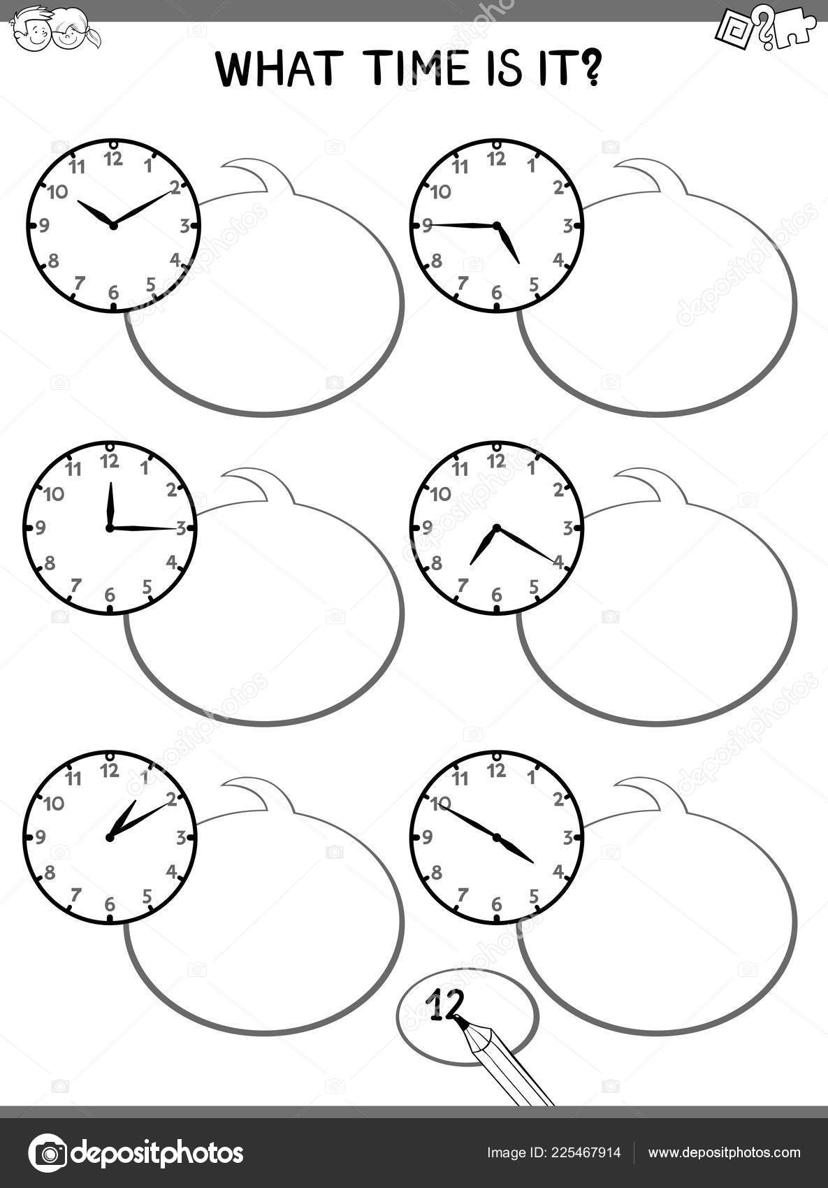 hight resolution of black and white cartoon illustrations of telling time educational game with clock face for elementary age children stock illustration