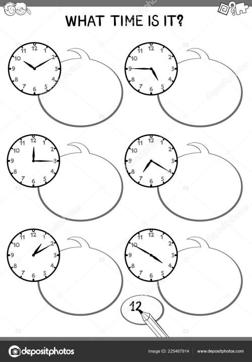 small resolution of black and white cartoon illustrations of telling time educational game with clock face for elementary age children stock illustration