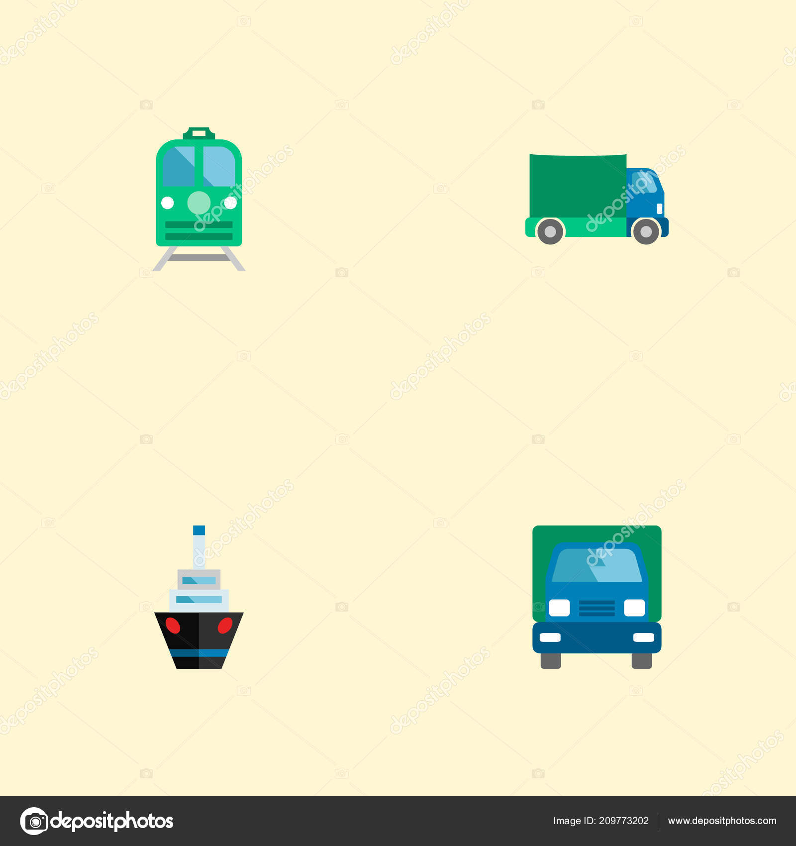 hight resolution of set of vehicle icons flat style symbols with ship electric train truck and other