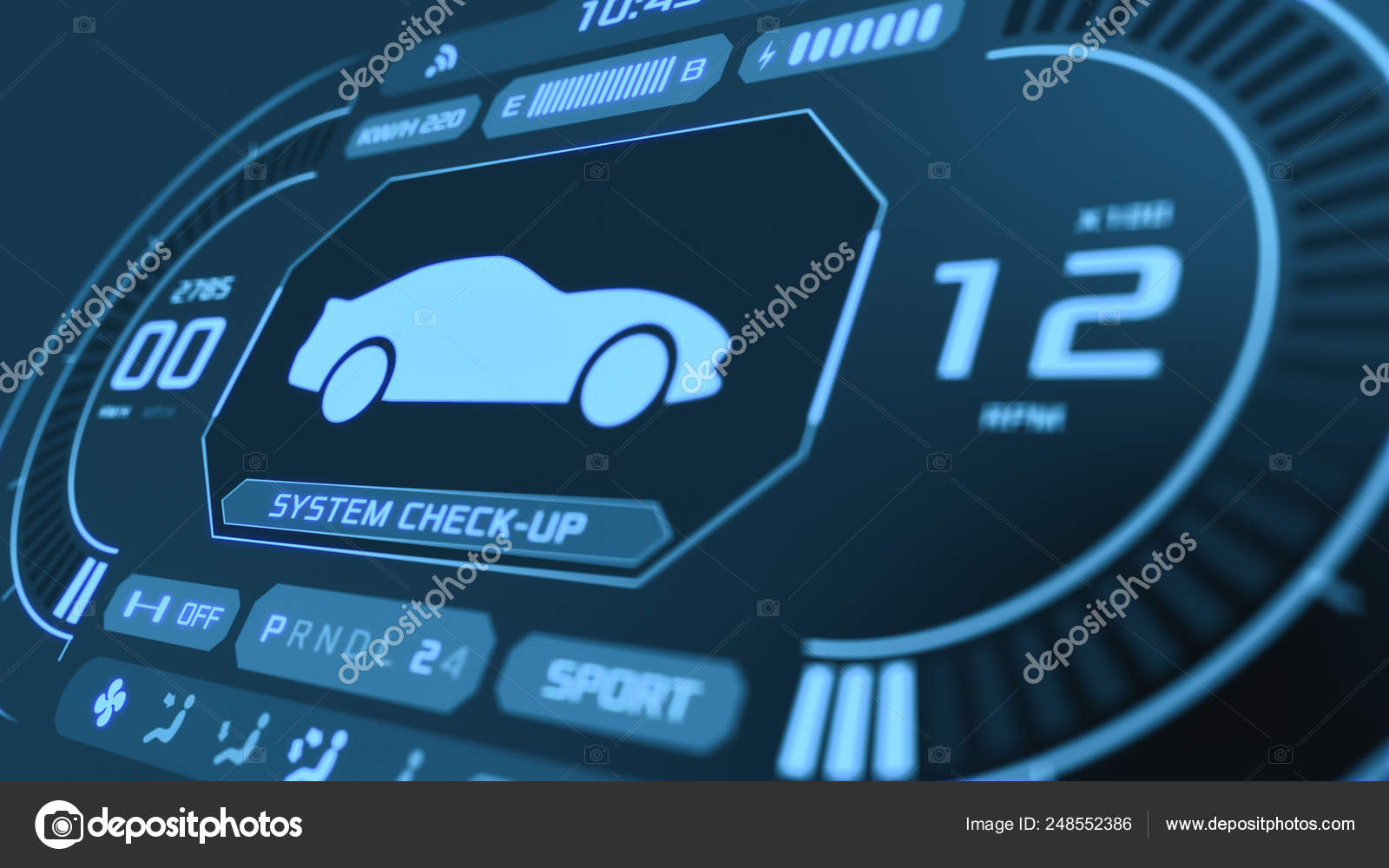 futuristic car dashboard stock