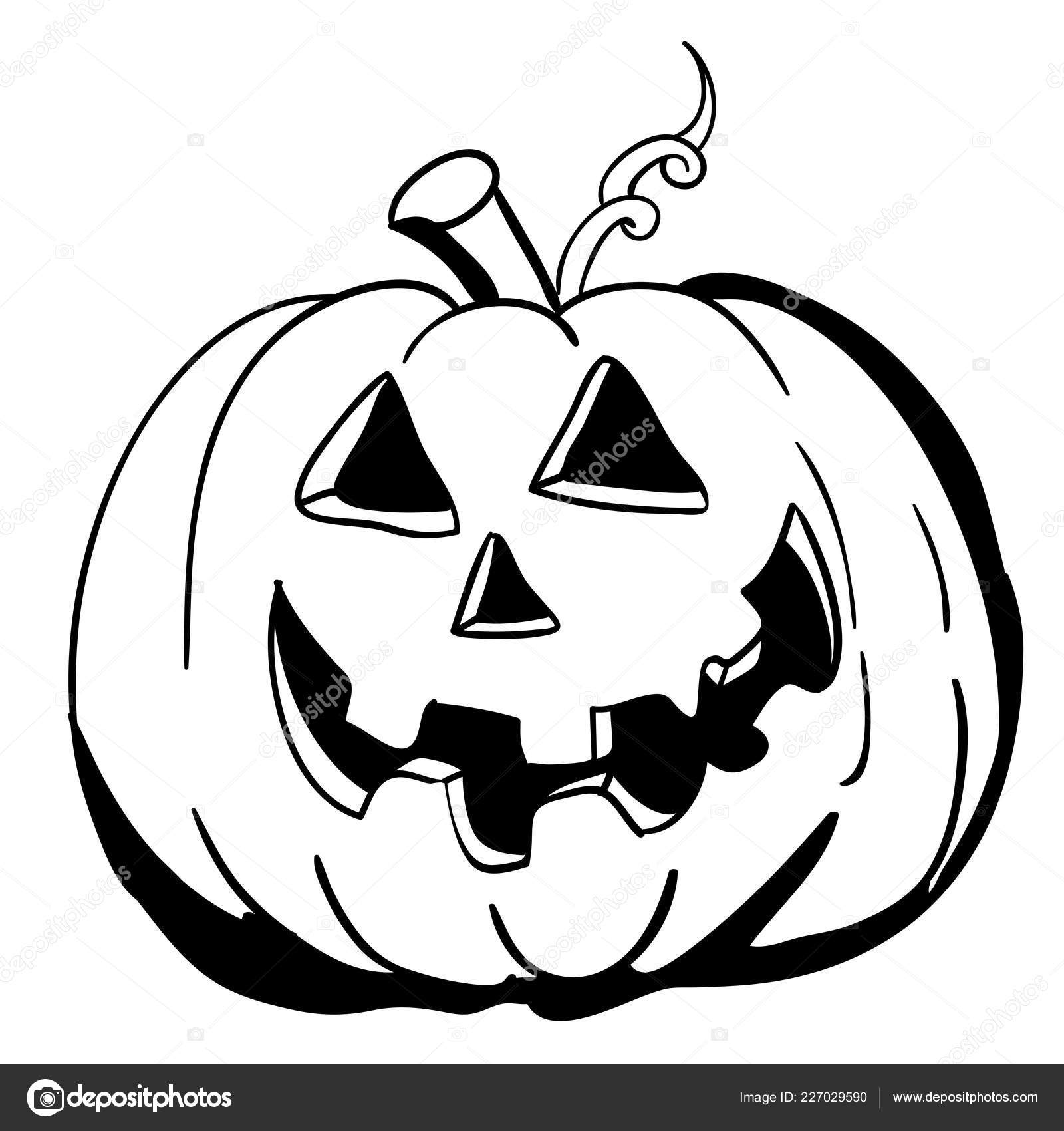 Pumpkin Cartoon Black And White